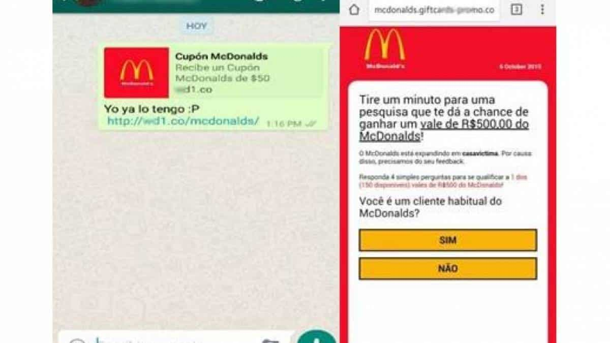 Fraude WhatsApp - McDonalds