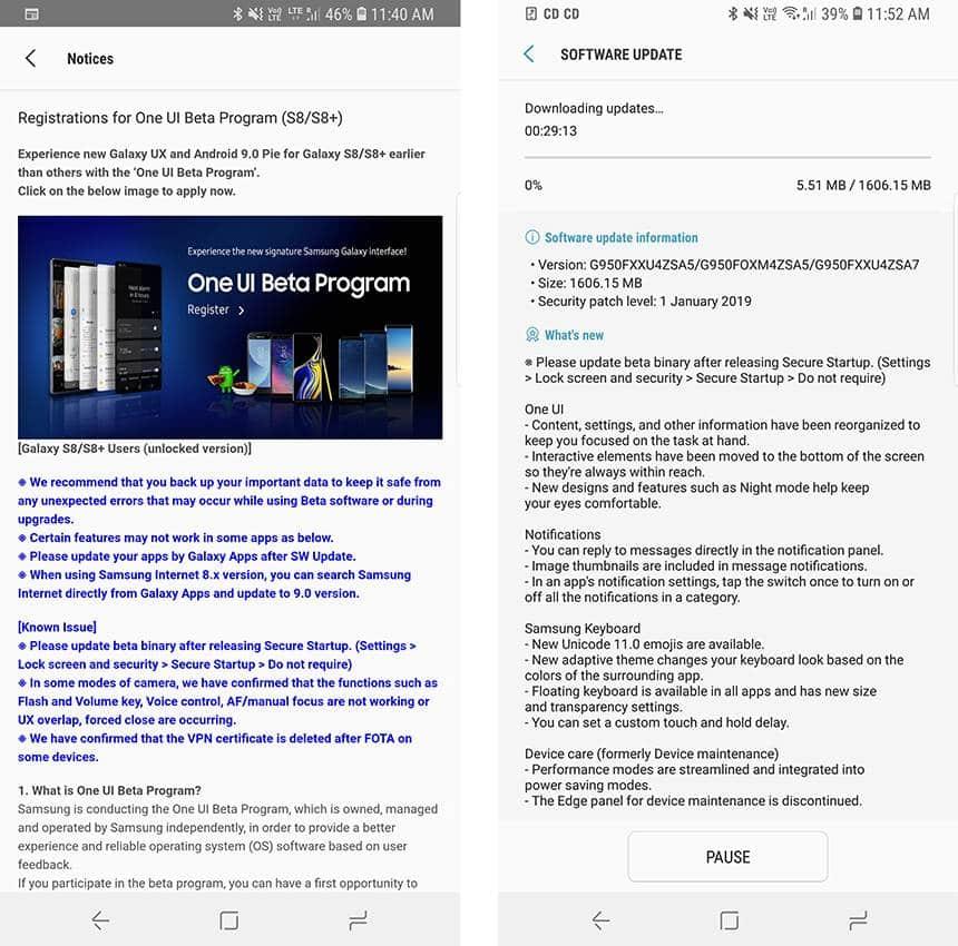 Atualização beta: Galaxy S8 e S8+ começam a receber Android