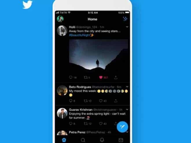 Twitter coloca modo escuro para Android em testes
