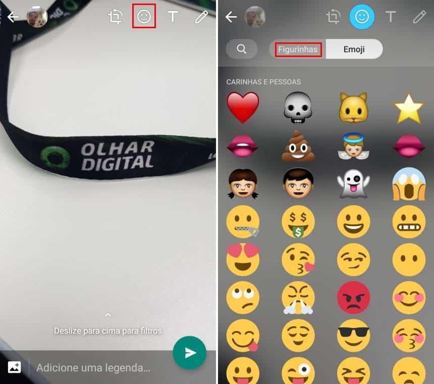 20190426163112 - Como 'colar' figurinhas em fotos ou imagens enviadas no Status do WhatsApp