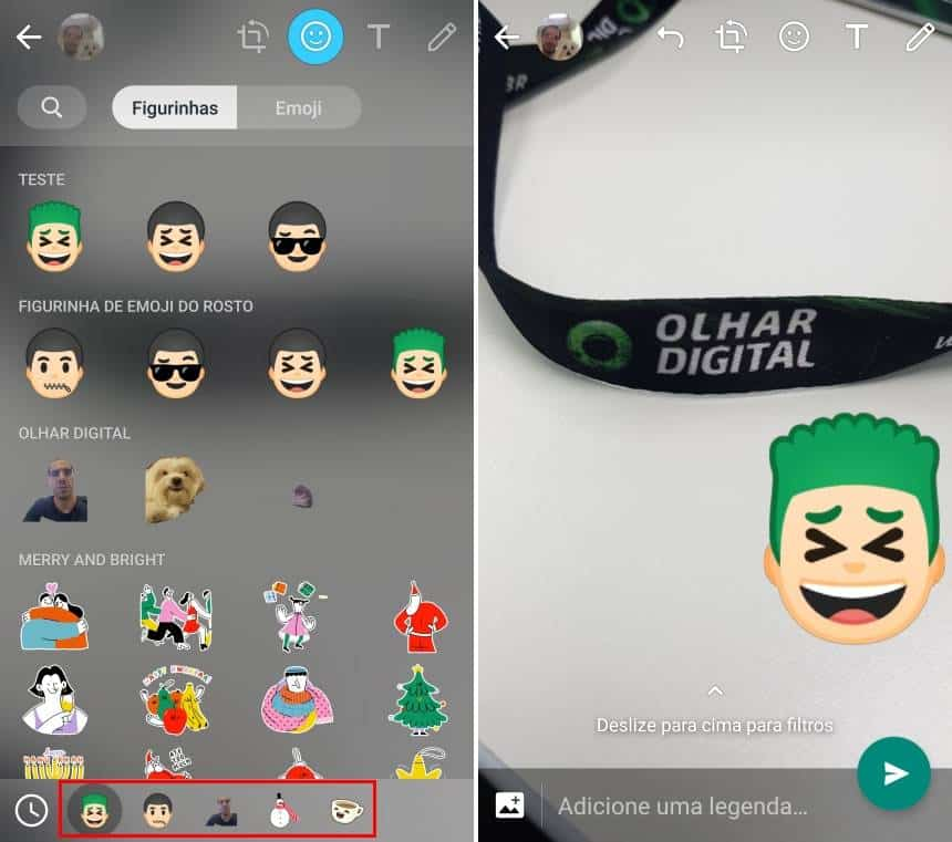 20190426163137 - Como 'colar' figurinhas em fotos ou imagens enviadas no Status do WhatsApp