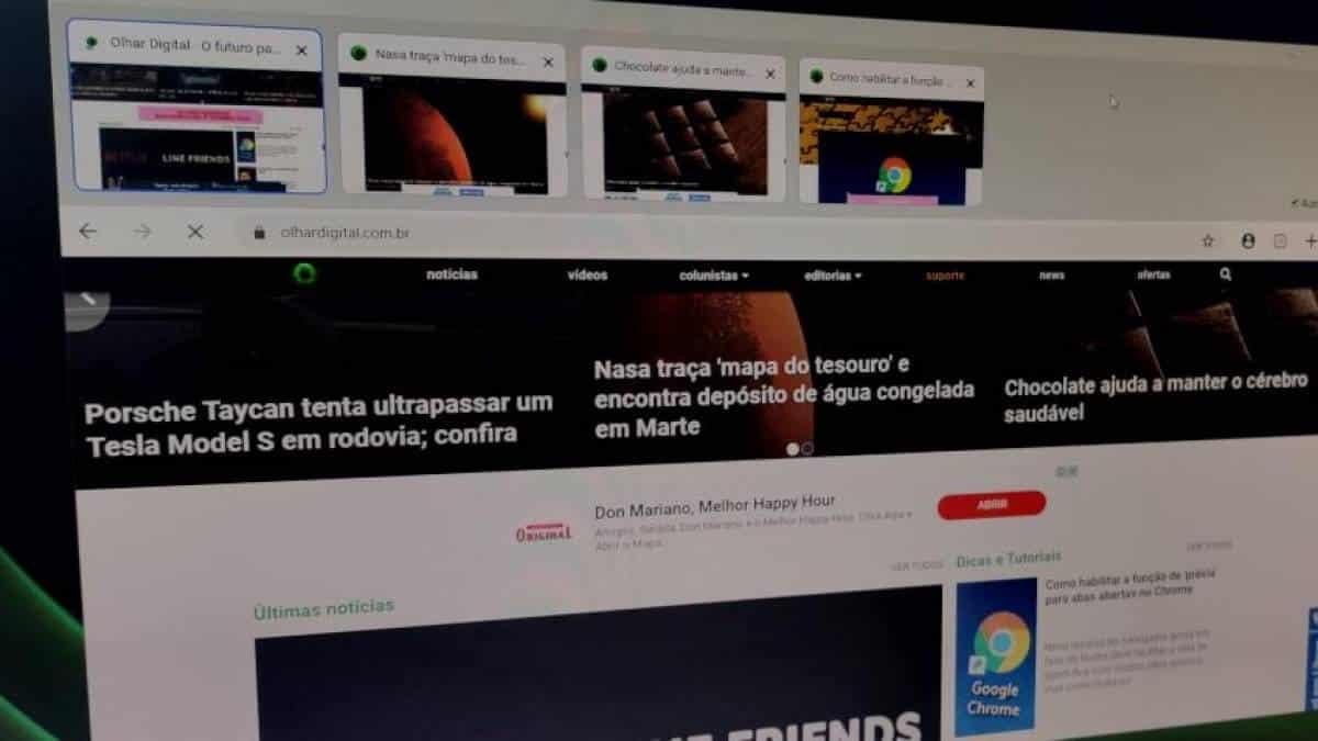Google Chrome - Prévia de abas abertas