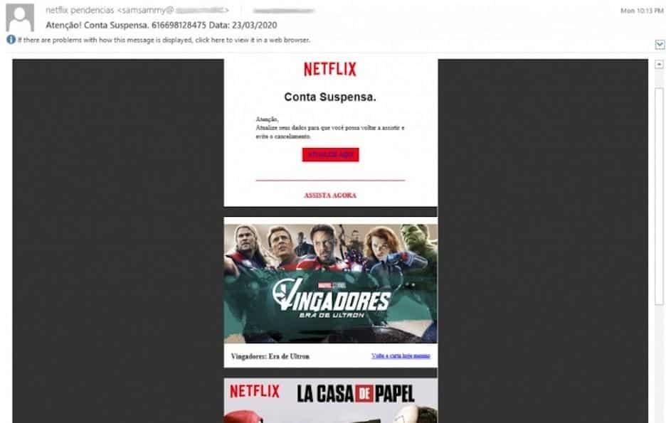 Novo golpe usa 'conta suspensa' na Netflix para roubar dados