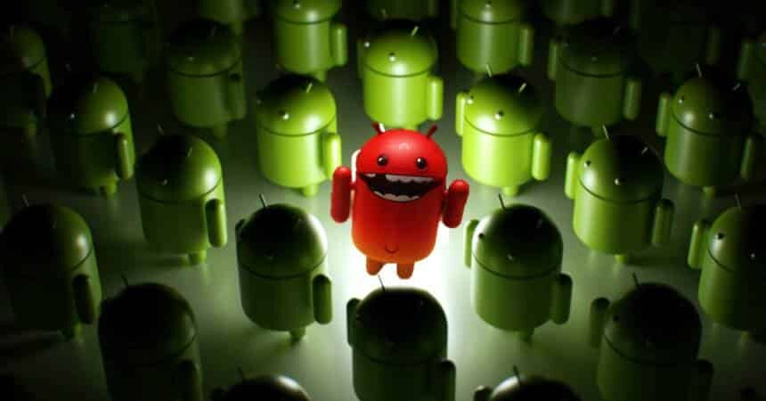 Android robot in red surrounded by green Android robots, symbolizing malware among apps