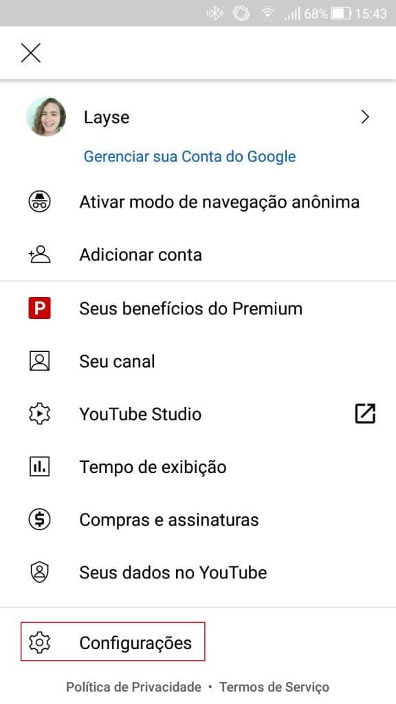 Configurações do YouTube Premium