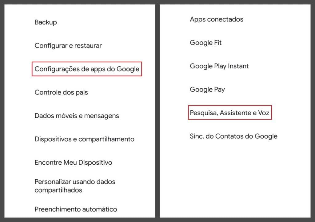 Menu de configurações de apps do Google e lista de apps conectados