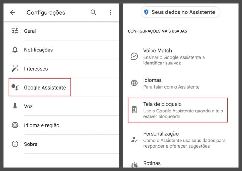Itens do Menu de app de voz e pesquisa e menu de configurações do Google Assistente