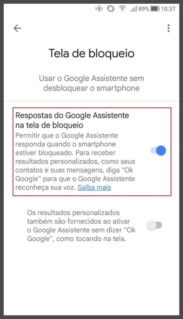 Menu para tela de bloqueio do Google Assistente