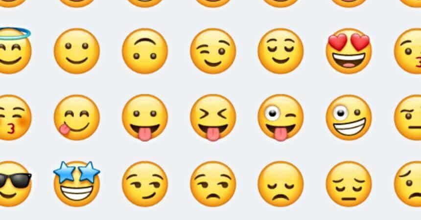 Lista com diversos emojis usados no WhatsApp