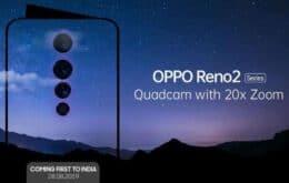 Oppo anuncia Reno 2, celular premium com quatro câmeras e zoom de 20x