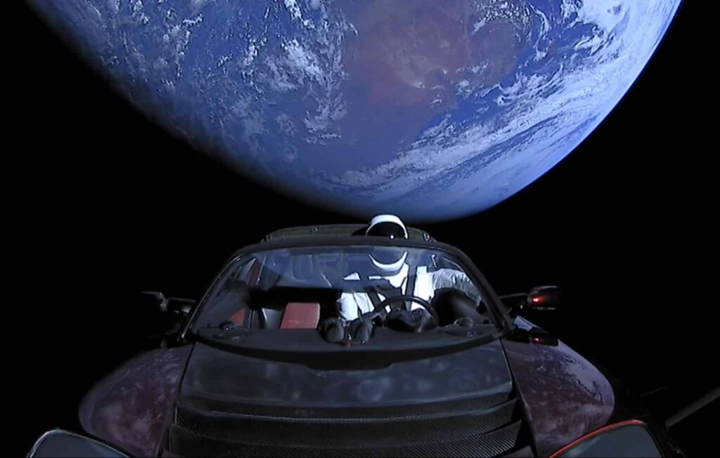 """Tesla Roadster by Elon Musk was put """"on the way to Mars"""" by a Falcon Heavy. Image: SpaceX"""