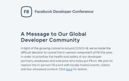 Coronavírus faz Facebook cancelar evento voltado para desenvolvedores