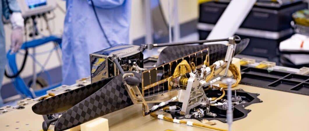 Ingenuity during assembly at NASA's Jet Propulsion Laboratory (JPL).