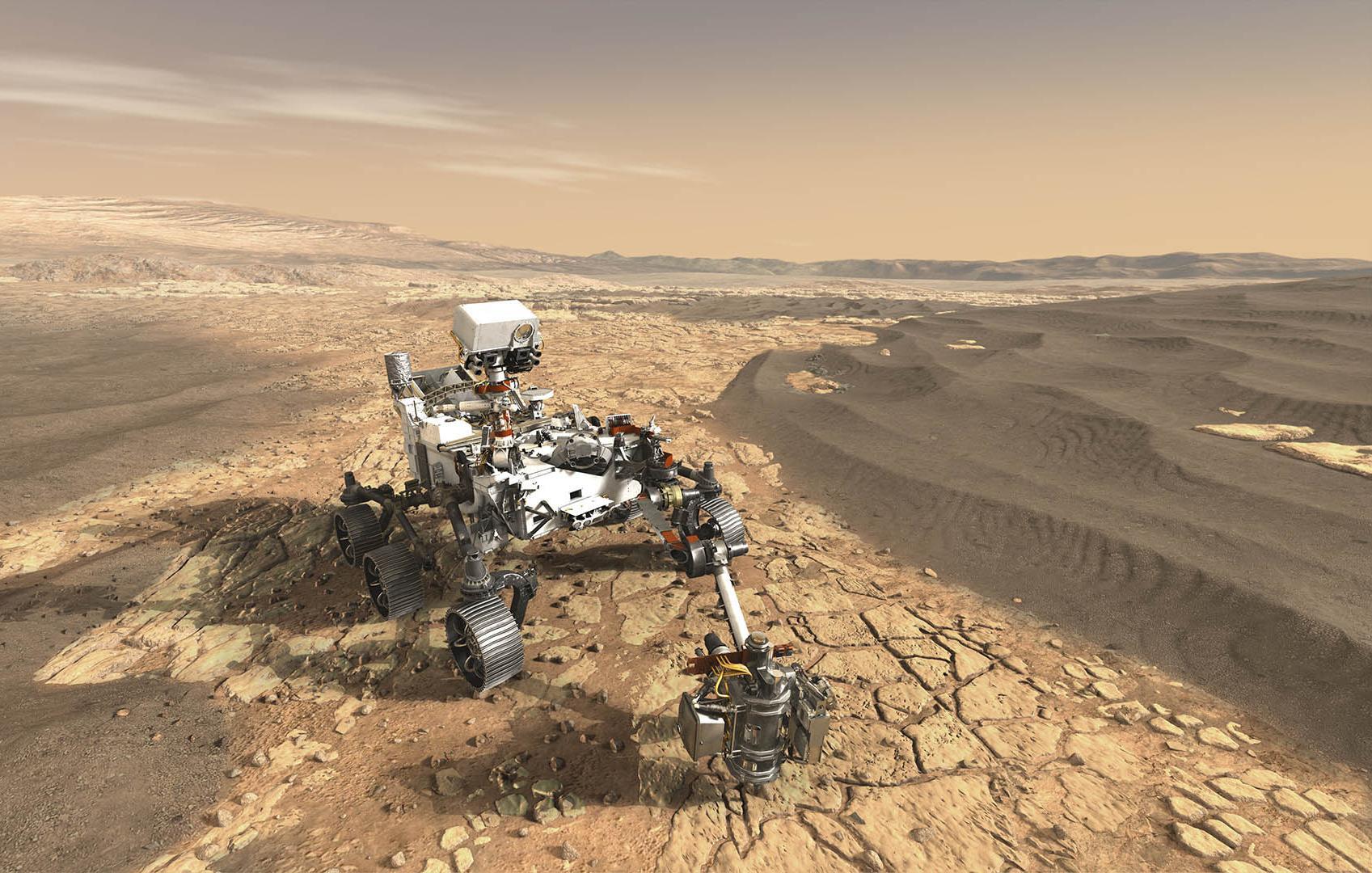 Rover Perseverance irá coletar amostras do solo de Marte, que serão recuperadas pela missão Mars Sample Return. Imagem: Nasa