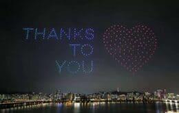 Show de drones agradece profissionais da saúde na Coreia do Sul; veja