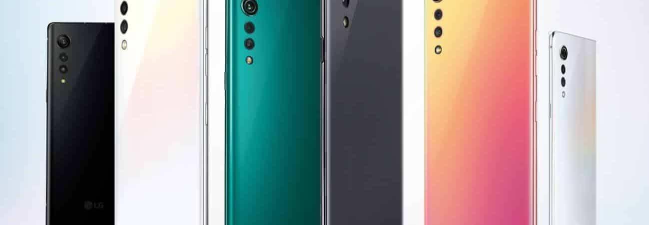 Várias cores do smartphone LG Velvet