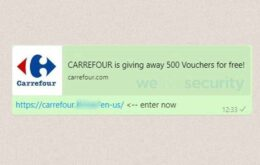 Mensaje de WhatsApp que promete que la tarjeta de regalo Carrefour es una estafa