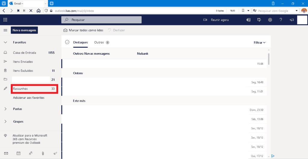 pagina de composição de email no outlook
