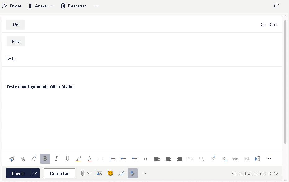 página de produção de email do outlook