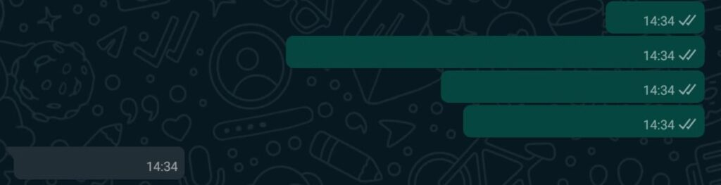 Mensagens no aplicativo WhatsApp