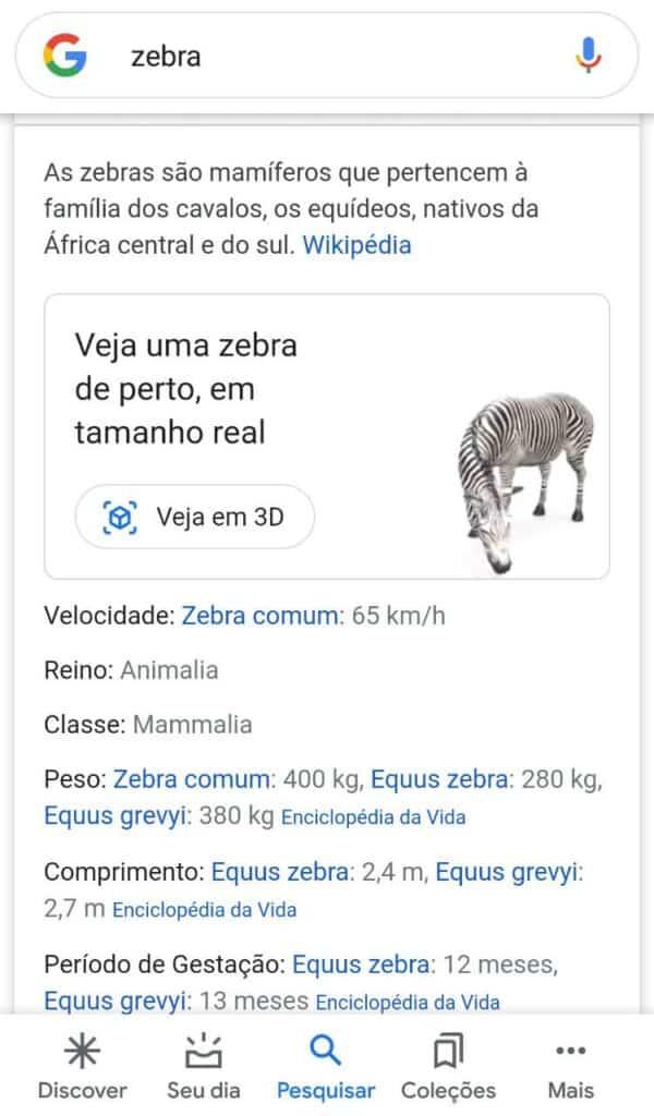 ver animais em 3d no google