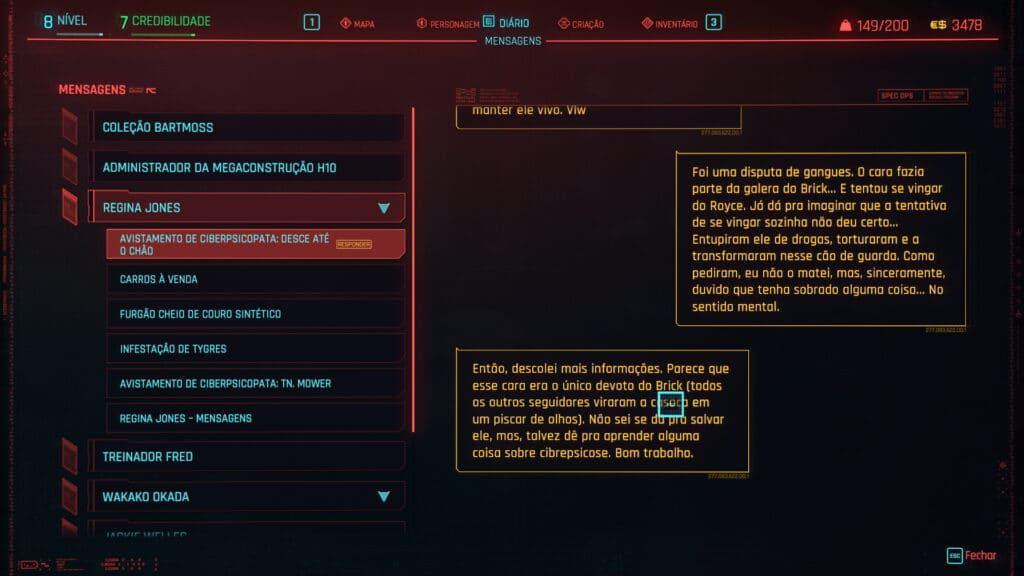 Descripción de una misión secundaria