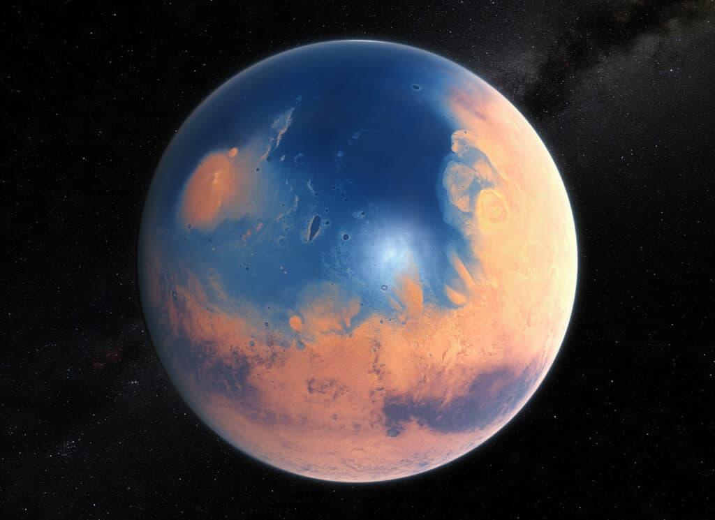 O jovem planeta Marte teria água suficiente para cobrir toda a sua superfície em uma camada líquida de cerca de 140 metros de profundidade