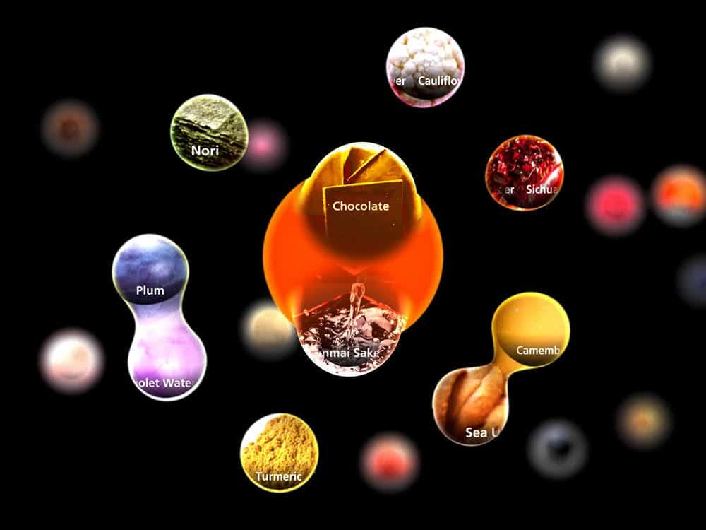 Bolhas com nomes de ingredientes ingredientes e sabores flutuam em um fundo preto