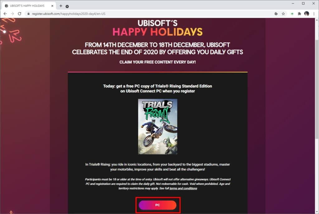"""Como pegar """"Trials Rising"""" de graça no PC - Passo 1"""
