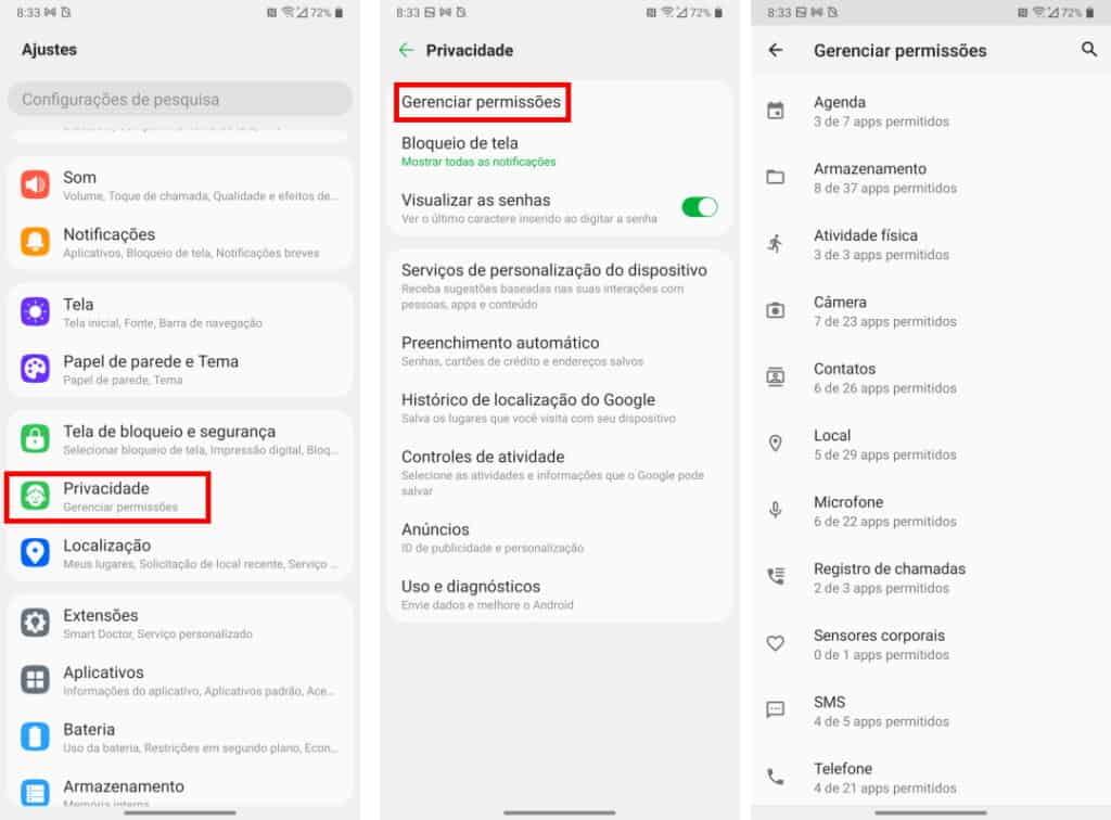 Permissões para aplicativos no Android