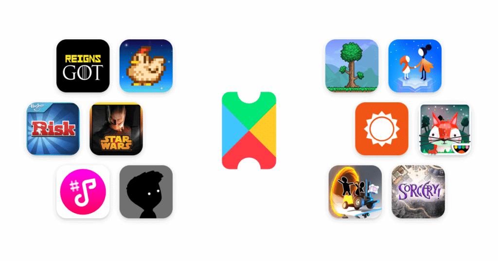 Logomarca do serviço Google Play Pass em meio a ícones de aplicativos e jogos