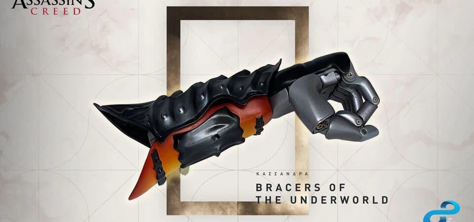 Prótese de braço biônico com a temática do jogo Assassin's Creed Odissey