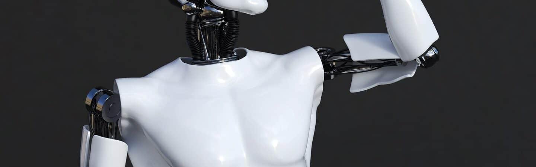Renderização em 3D do robô masculino flexionando o músculo bíceps