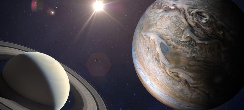 Planetas Júpiter e Saturno próximos