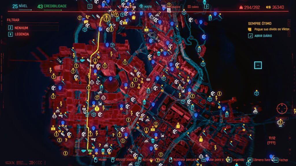 Mapa de misiones de la ciudad nocturna