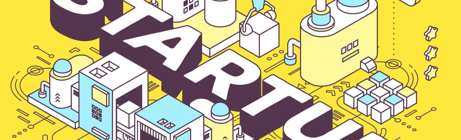 Ilustração de maquinário de uma fábrica funcionando ao redor do nome startup