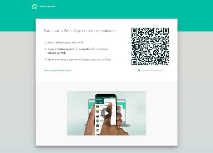 Tela de pareamento entre computador e smartphone do WhatsApp