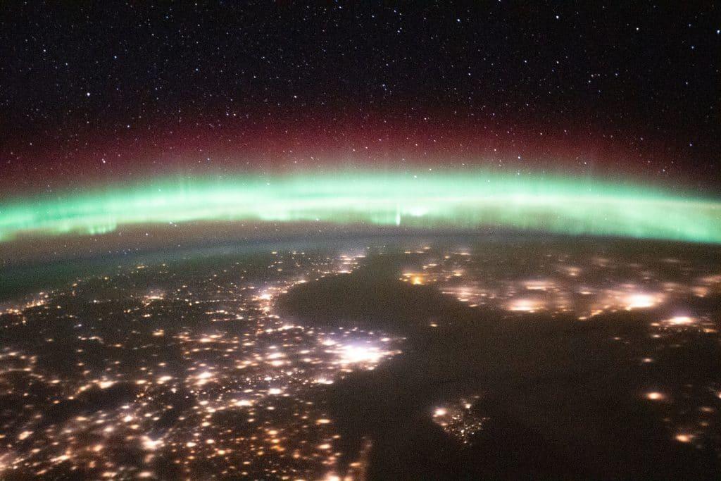 Aurora sobre Suecia y Finlandia. Foto: Roscosmos