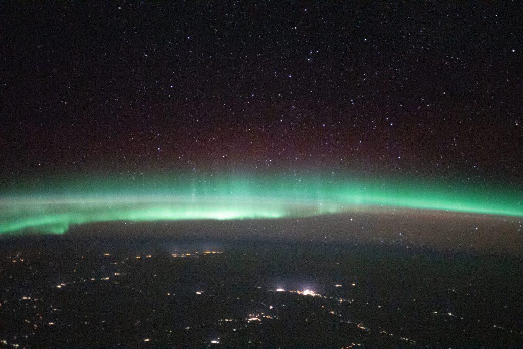 Aurora sobre Rusia, entre Ucrania y Kazajstán. Imagen: Roscosmos