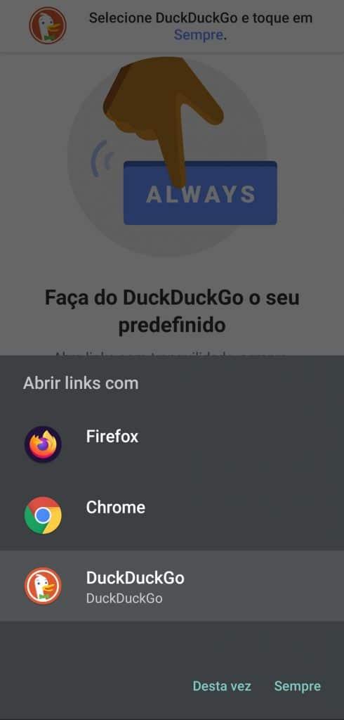 No celular, defina o DuckDuckGo como o buscador padrão