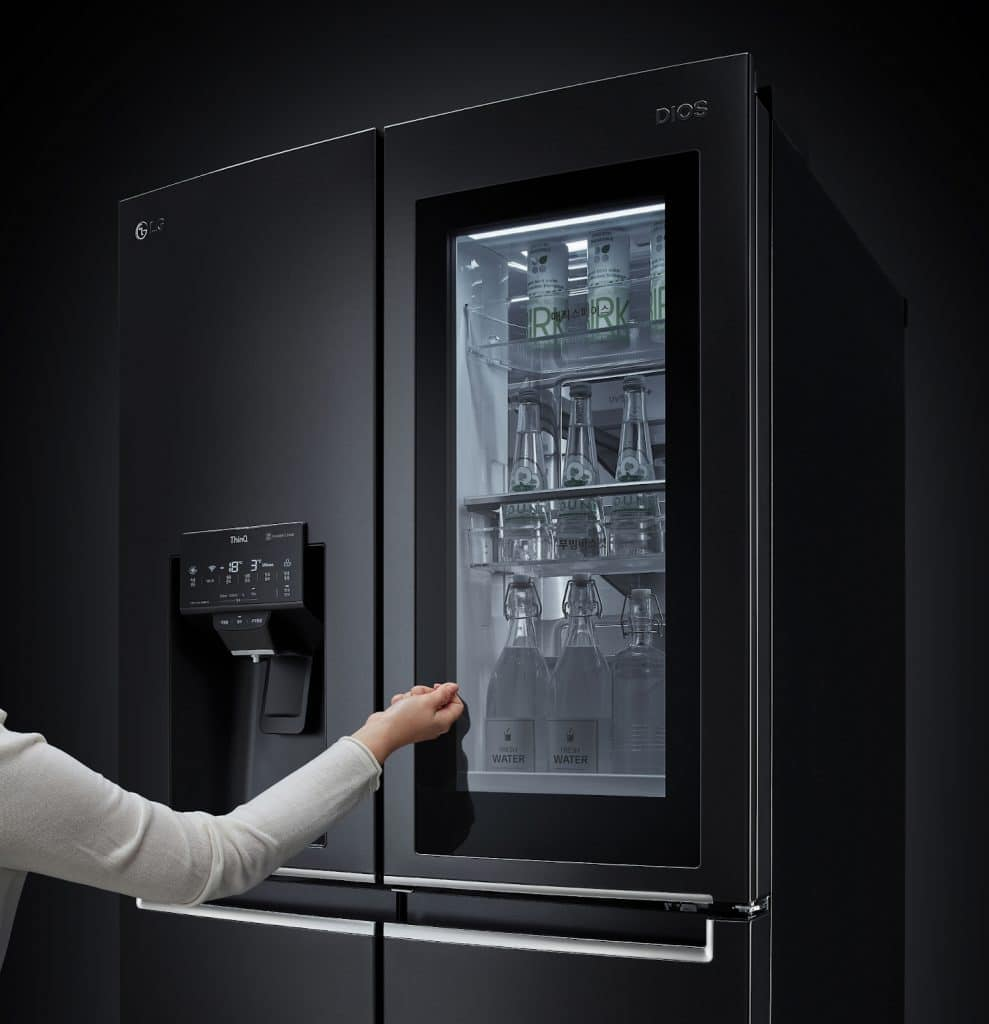 LG Instaview refrigerator has a glass door that allows you to see the interior of the appliance