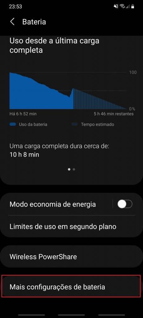 porcentaje de batería que se muestra en la configuración de un teléfono celular