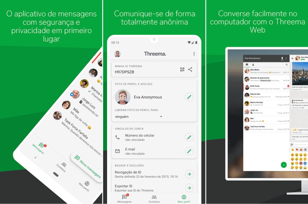 telas do threema, app alternativo ao whatsapp e pago