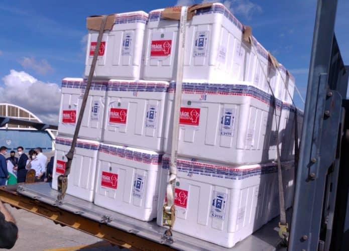 Doses de vacina CoronaVac prontas para serem colocadas em avião