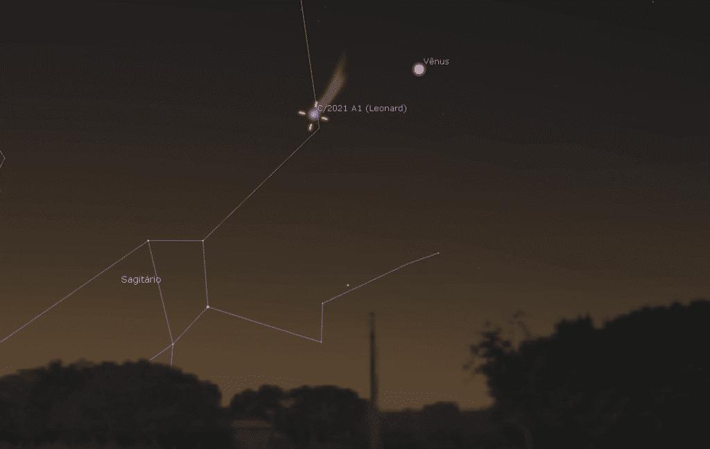 Visión esperada para el cometa C / 2021 A1 (Leonard) en conjunto con Venus en el cielo de São Paulo