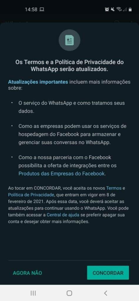 Novos termos citam mudanças na forma como o compartilhamento de informações entre o WhatsApp e Facebook é feito. Foto: Olhar Digital
