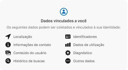 Aviso de privacidade em um app da App Store.