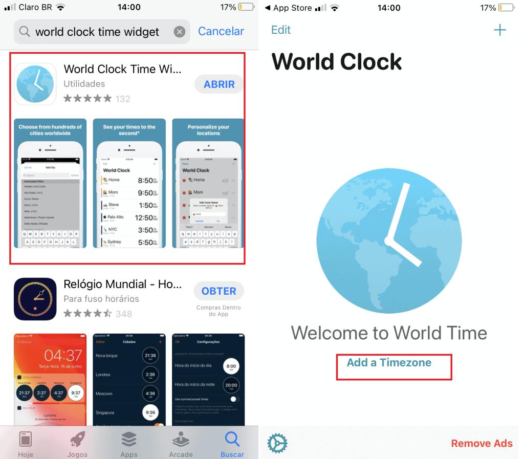 La captura de pantalla muestra cómo funciona la aplicación Reloj mundial