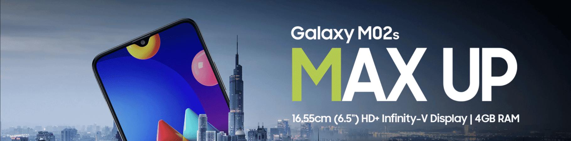 Banner de lançamento do Galaxy M02s