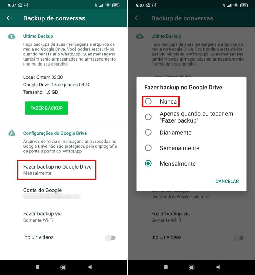Como recuperar conversas apagadas do WhatsApp no Android - Passo 9